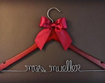 Team Bride - Rustic Wedding Hanger - Vintage Wedding Hanger - Gifts and Mementos - Hangar - Name Hanger - Custom Hanger - White Coat - Dress