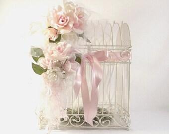 White Shabby Chic Birdgage/Wedding Gift Card