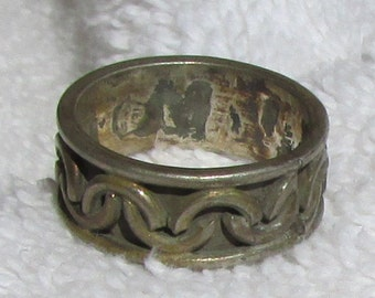Sterling Silver Band from Mexico. Size 8 1/4  Lots of Natural Patina