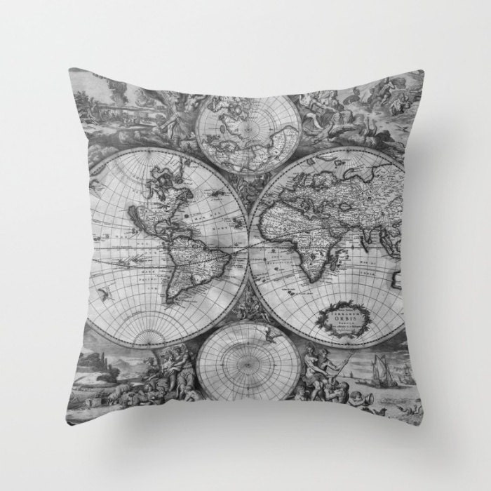 Old world map throw pillow vintage map pillow world map decorative old world map throw pillow vintage map pillow world map decorative pillow surf elegant office decor black whitegrayscaledormlibrary gumiabroncs Images