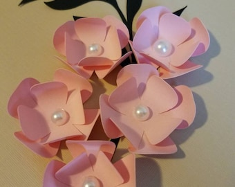Set of 10 Pink Paper Flowers with Leaves, Small Paper Flowers, Party Decor, Scrapbooking, Cardmaking, Table Decoration