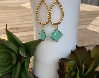 Aqua Chalcedony  and Gold Teardrop Earrings Chalcedony Earrings Dangle Earrings Gifts For Her Under 20 Jewelry For Her Under 20