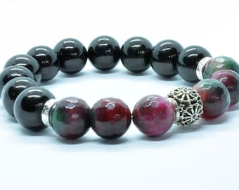 Agate and onyx real stone beaded bracelet black purple