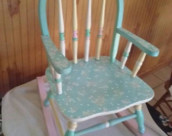 Beau Hand Painted Childu0027s Pastel Colored Rocking Chair