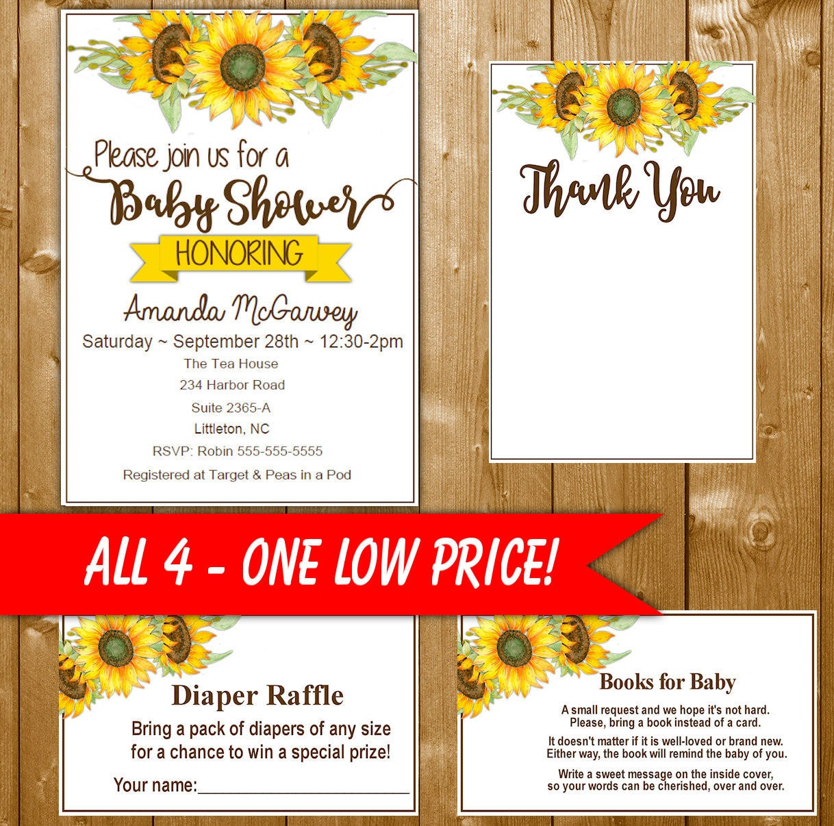 Sunflower Baby Shower Invitation Set Includes Diaper Raffle