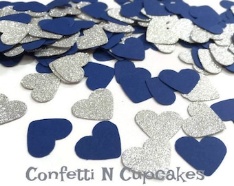 Heart Confetti, silver glitter hearts, paper confetti, Bachlorette party, wedding reception, table scatter, party decor, baby boy shower
