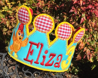 Girls Birthday Crown,Chica birthday, Chica Hat, Girls Chica Birthday, Chica Crown