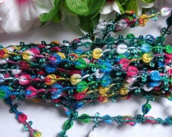 Rosebraid multicolor  1/4 inch wide 1 yard and 25 inch cut