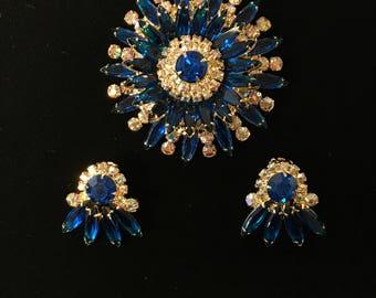 Blue Rhinestone Brooch And Earring Set
