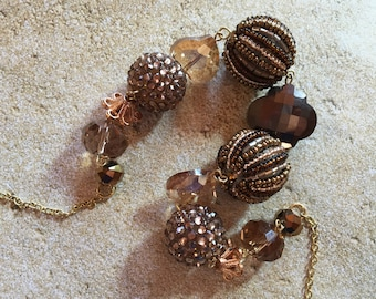 Brown and Gold Necklace, Glass Beaded Necklace, Beadwork Necklace, Gift For Her Statement Necklace, Beaded Necklace, Glass