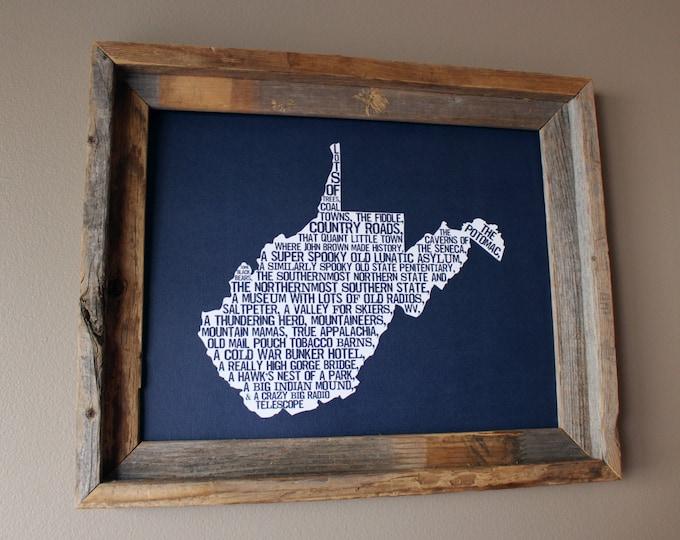 West Virginia In A Nutshell Word Art Map Print (Dark Blue) - Unframed