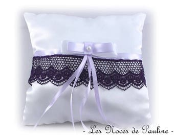 Purple and White Satin bow lace ring pillow