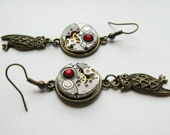 Steampunk Owl Earrings, Mechanical Owl, Owl Earrings, Gear Earrings, Gifts For Her, Steampunk Earrings, Gears, Gift Idea