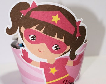Pink SuperHero Cupcake Wrapper,SuperHero,Girl SuperHero,Cupcake Wrapper