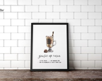 Kitchen Recipe Wall Art Grown Up Cocoa | Sign or Card | Instant Download | 5x7 8x10 11x14 | Print it yourself! | Recipe Art