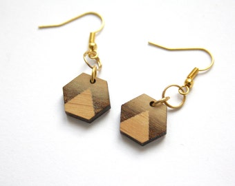 Geometric earrings hexagon shape, triangle pattern, wood jewel, minimal modern, art deco style, unique original gift, made in France Paris