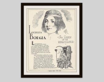 Lucrezia Borgia, Vintage Art Print, Historical Figure, Renaissance, Women in History, Italian History,  Femme Fatale, History Lovers Gift
