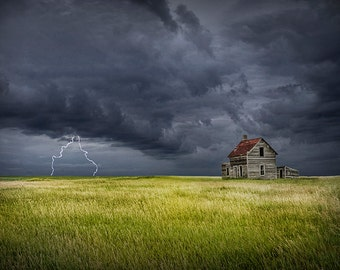 Thunder Storm, Lightning Bolts, Abandoned Farm, Storm Clouds, Farm House, Prairie Panorama, Prairie Landscape, Landscape Photograph