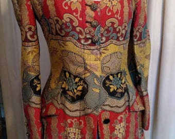 Christian LaCroix tapestry dress circa 1989 made in France with Bergdorf Goodman label.