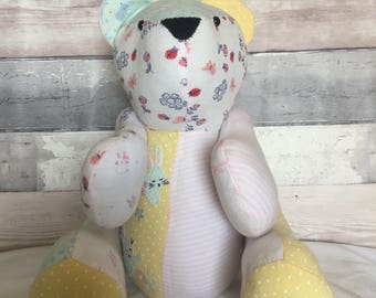 weighted keepsake memory bears or animals made from your baby's outgrown clothes weighed to there birth weight