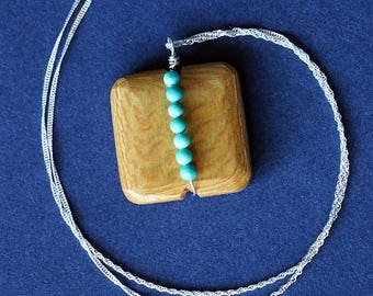 Turquoise Stripe Wooden Pendant Necklace