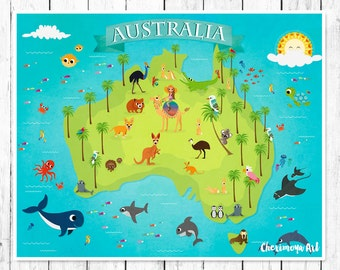 australia animal map kids maps map of australia kids wall maps childrens world map baby gift