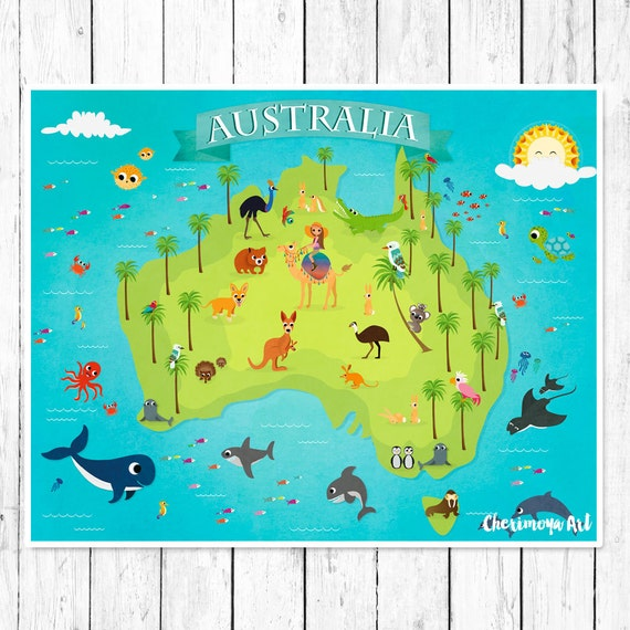australia animal map kids maps map of australia kids wall maps