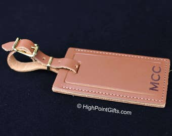 Leather Luggage Tag - Personalized Luggage Tag - Monogram Luggage Tag - Hand Made Luggage Tag - Safety Luggage Tag
