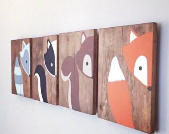 Baby Animal Paintings - Woodland Paintings - Woodland Sign Set - Woodland Nursery Decor - Baby Shower Gift - Fox Painting - Raccoon Painting