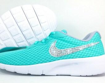 Girls Bling Nike Tanjun Customized with Swarovski Crystals - Turquoise Glitter  Kicks Nikes, Swarovski Nike