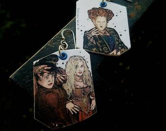 Hocus Pocus Sanderson Sisters - hand-painted witch earrings - Halloween