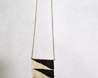 Hand woven pendant necklace cotton and bronze jewellry black white beige gold zig zag