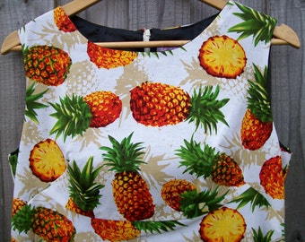 Size 16 Retro 60's Style Dress with Pineapples