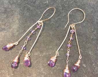 Amethyst Briolettes and Rosary Chain Rose Gold Chandelier Earrings     Genuine Amethyst    Sundance Style orig 62 dollars now 41 spring sale