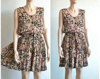 90s Grunge Romper Dress Floral Print Rayon Playsuit Skort - small to medium