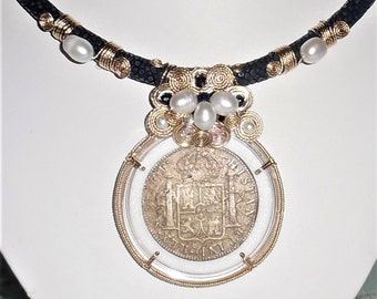 "GENUINE 1783 El Cazador Shipwreck 8 Reales Coin, 14kt yellow gold, Blue Stingray leather 19"" Necklace"