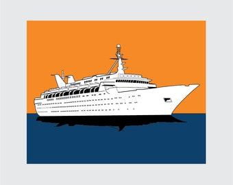 Cruise Ship Art Print, 8x10 PRINTABLE, Cruise, Instant Download, Digital