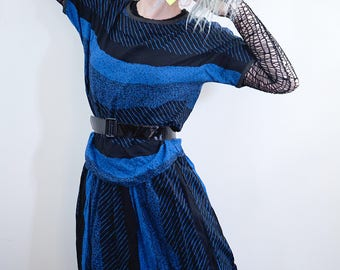 Vintage 1980s Black & Blue Two-Piece Cotton Skirt and Top Set, black and blue stripes, Dolman Sleeve, goth, 1980s, new wave, cyndi lauper