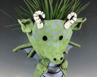 Ember the Welp // Baby Dragon Planter // Pothead // Succulent Pot // Mystical // Handmade // Home Decor // Adorable // Green // Purple