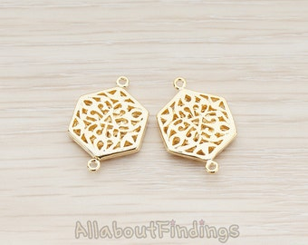 CNT032-G // Glossy Gold Plated Gothic Celtic Hexagon Connector, 2 Pc