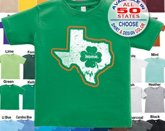 Texas Home State Irish Shamrock T-Shirt - Boys / Girls / Infant / Toddler / Youth sizes