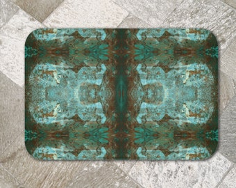 Modern Abstract Plush Bath Mat Mirrored Dark Copper Rust Brown Teal Green Intricate Lacy Distressed Mosaic, South Western Colour Decor