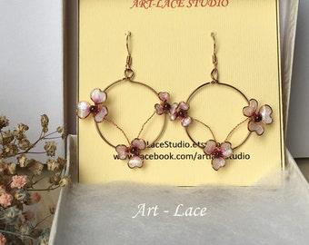 Pink rose gold flower earring women Sakura earring flower dangle Copper flower Hoops Garnet rose gold Japanese wedding Cherry Blossom Earrin
