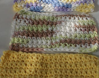 Crocheted baby wash clothes