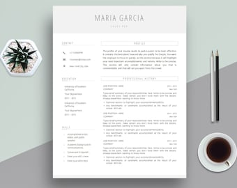 Creative Resume Template, Cover Letter Template for MS Word | Professional, Modern & Clean CV Template | A4 + US Letter | Instant Download