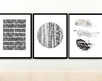 Black And White Art,  Set of 3 Prints, Triptych, Minimalist Poster, Scandinavian Art, Giclee prints, Wall Art, Home Decor, Wall Decor