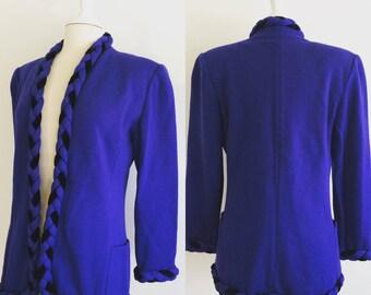 Ungaro Vintage Blue & Black Knit Blazer w/ Braided collar detail Ungaro Parallele Paris Emanuel Ungaro Size L