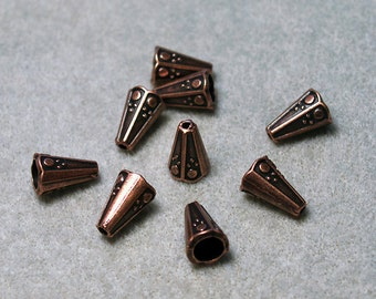 Antique Copper Cones- jewelry findings
