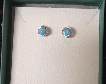 Blue Opal Studs 4mm, Argentium Sterling Silver Wire posts, rubber backs