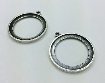 4pc Double Sided Pendants // 30mm // Large // Bezel // Heavy Antique // Made In The USA by Winky&Dutch